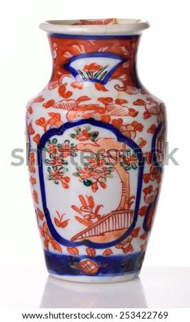 Japanese Vase Handpainted Scenic Decoration 19th Stock Photo