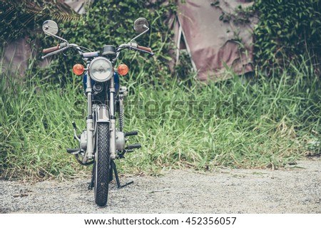 Japanese vintage motorcycle with nature background
