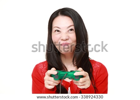 Japanese woman enjoying a video game