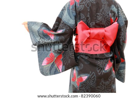 Japanese woman in traditional clothes of Kimono, portrait of back view