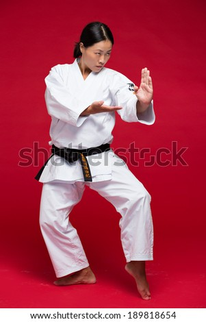 Japanese woman practicing martial arts - stock photo