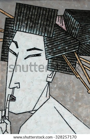 Japanese woman put her finger to her mouth to geisha painting Japan art - stock photo