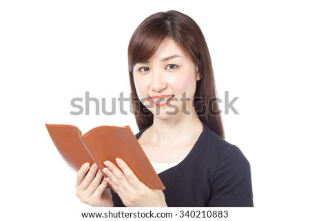 Japanese woman reading a book