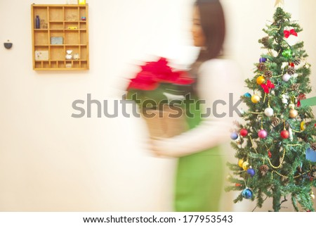Japanese woman walking with a poinsettia