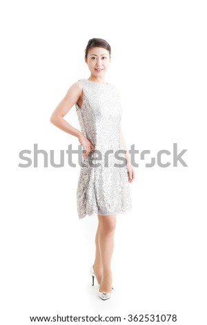 Japanese woman wearing a dress, standing pose