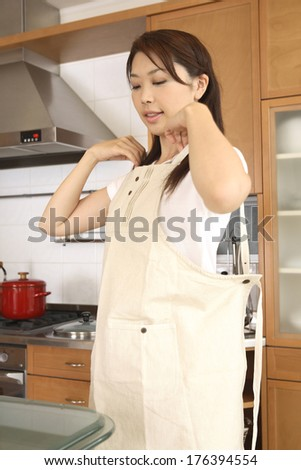 Japanese woman wearing the apron