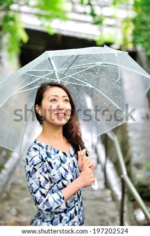 Japanese women are an umbrella on a rainy day