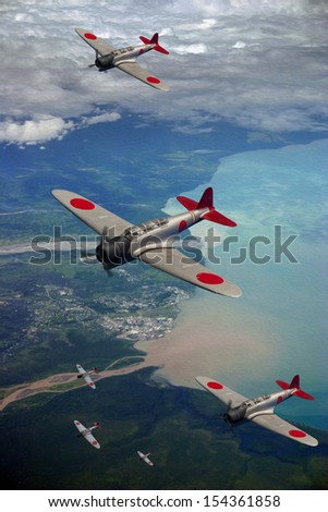 Japanese WWII aircraft flying over the village of Lae in Papua New Guniea. - Oil Painting Style Artist's impression. - stock photo