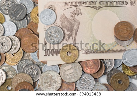 Japanese yen banknotes and coins. Currency of Japan. finance concept. - stock photo