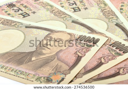 Japanese  10000 yen bill on white background  - stock photo