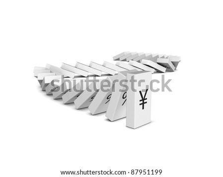 Japanese Yen currency crash. Domino effect - stock photo
