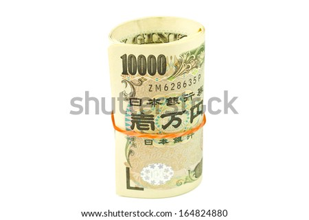 Japanese yen notes on white background