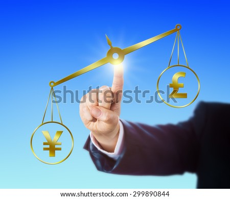 Japanese Yen symbol outweighing the British Pound Sterling sign on a golden pair of scales. Right arm of a forex trader is reaching out to touch the balance with his index finger. Clear background. - stock photo