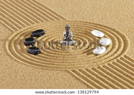 Japanese zen garden with sand and stones - stock photo