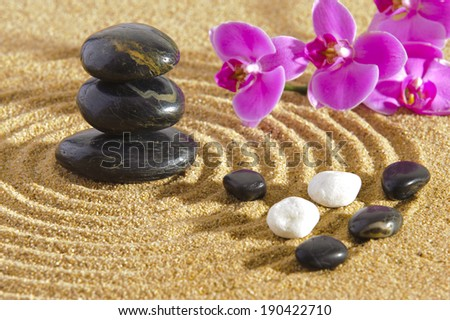 Japanese ZEN garden with stacked stones - stock photo