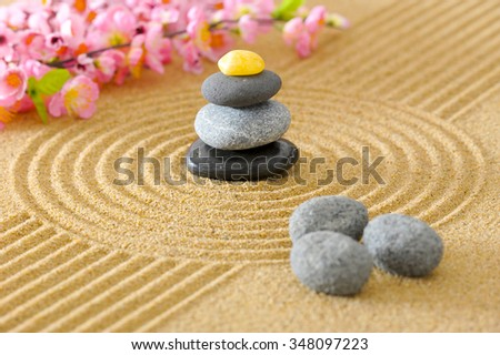 Japanese ZEN garden with textured sand and stones