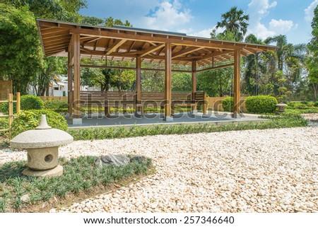 Japanese zen gardens and pavilion - stock photo