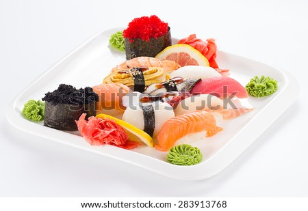 Japanesse tasty sushi set isolated on white background - stock photo
