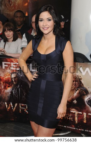 "Jaqueline Jossa arrives for premiere of ""Wrath of the Titans"" at the IMAX Cinema, South Bank, London. 29/03/2012 Picture by: Steve Vas / Featureflash"
