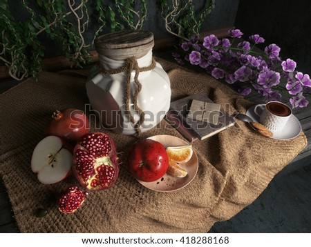jar,apples,pomegranate,coffe cup with books and orange on canvas drapery conceptual still-life - stock photo
