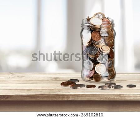 Jar, Coin, Savings. - stock photo