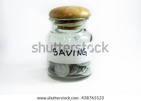 jar for saving filled by coins