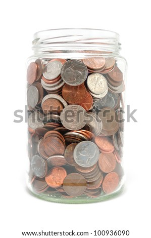 Jar Full of Coins Isolated on a White Background - stock photo