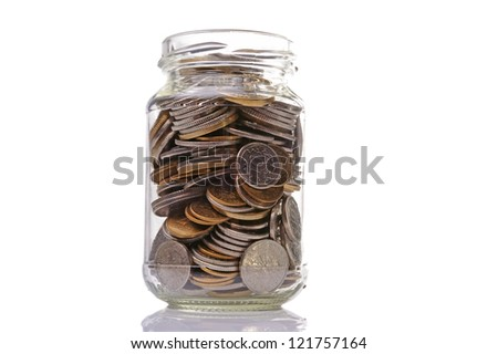 Jar is filled by coins - stock photo