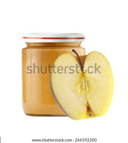 Jar of baby puree and fresh apple isolated on white - stock photo