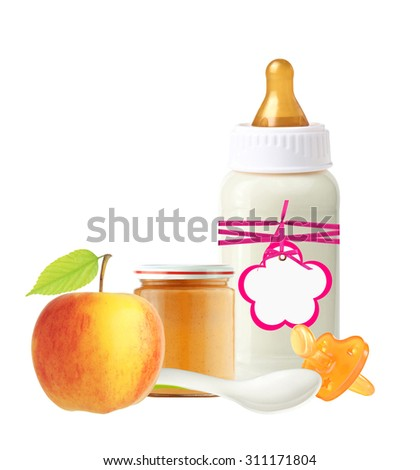Jar of baby puree, baby milk bottle, apple and dummy isolated on white - stock photo