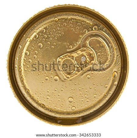jar of beer in drops of water on a white background