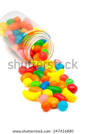 jar of candy on a white background - stock photo