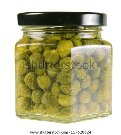 Jar of capers isolated on white background - stock photo