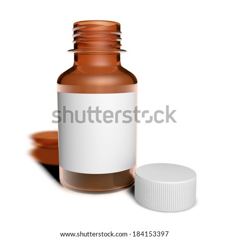 Jar of cough syrup with white container