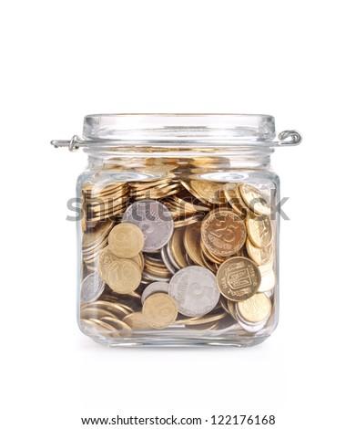 Jar of Money Isolated on a White Background - stock photo