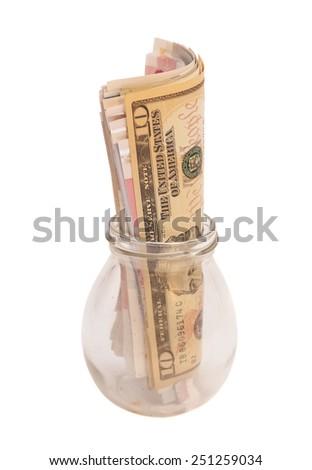 Jar of Money Isolated on White Background  - stock photo