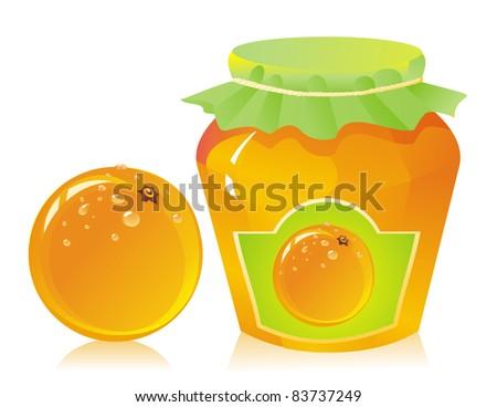 jar of orange marmalade and fresh orange - stock photo