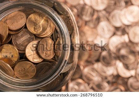 Jar Of Pennies - stock photo