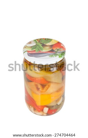 Jar of pickled peppers isolated on a white background.