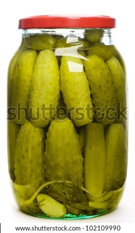 Jar of pickles - stock photo