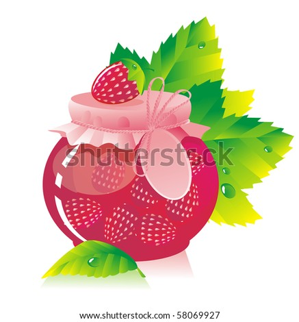 Jar of strawberry jam and strawberry - stock photo