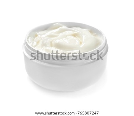 Jar with body cream on white background