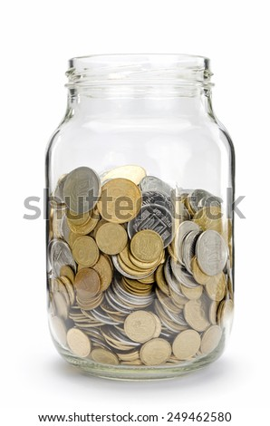 Jar with coins, money isolated on white - stock photo