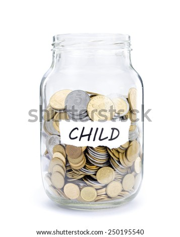 Jar with coins on Child, money isolated on white. - stock photo