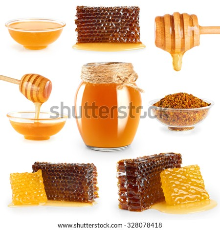 Jar with honey, honeycombs, honey dipper and pollen on white background. Collection. - stock photo