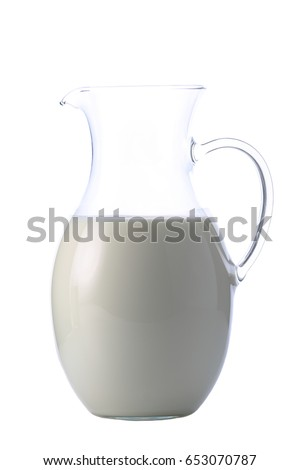 Jar with some milk isolated on white background