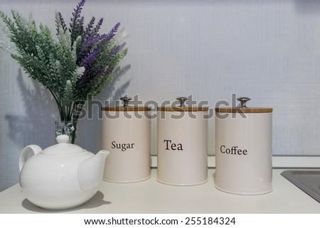 jar with tea coffee sugar can - stock photo