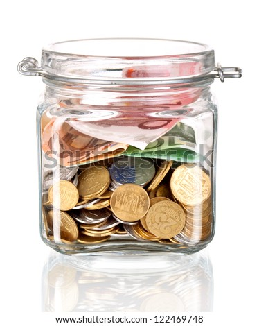 jar with the money on white - stock photo