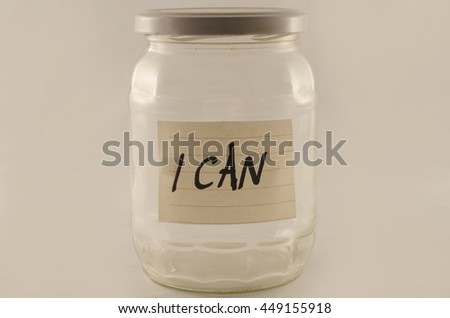 Jar with the words i can written on paper and attached on it