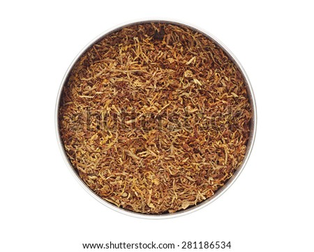 Jar with tobacco isolated on white background, top view